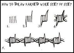 DARYL HOBSON ARTWORK: How To Draw Barbed Wire: Step By Step art art graffiti art graffiti definition art graffiti quotes art graffiti words art quotes wall art quotes Barbed Wire Drawing, Barbed Wire Tattoos, Barbed Wire Art, Art Drawings Sketches, Tattoo Sketches, Easy Drawings, Tattoo Design Drawings, Pencil Art Drawings, Doodle Tattoo