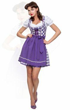 Minidirndl Joy violett 50 cm Blockkaro Wiesn Dirndl