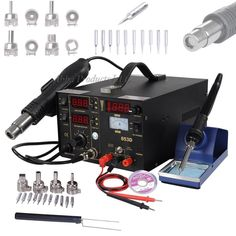 Professional 3in1 Soldering Iron Hot Air Gun SMD Power Supply Solder Kit Station #Unbranded
