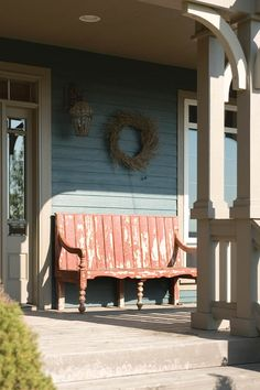 Weathered front porch bench