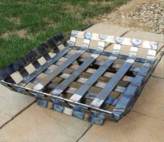 Steel Basket Weave Fire Pit by Weldments on Etsy Industrial Design Furniture, Industrial Interiors, Industrial Style, Metal Projects, Welding Projects, Steel Fire Pit, Dark Wood Stain, Fire Pit Designs, Outdoor Fire