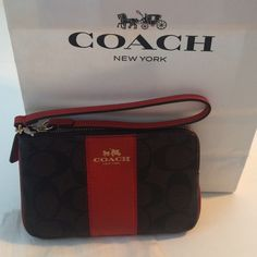 NWT Coach brown and orange striped wristlet Gorgeous wristlet in awesome colors! Coach Bags Clutches & Wristlets