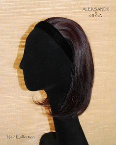 Теменная НАКЛАДКА на Ободке - постиж, шатен коричневый (из натуральных волос) www.aleksandr-and-olga.ru www.livemaster.ru/hair-collection