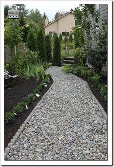Rock path with scalloped edging Gravel Pathway, Gravel Landscaping, Front Yard Landscaping, Pathway Stone, Walkway, Garden Paths, Lawn And Garden, Garden Paving, Landscape Design