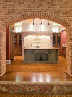 #Kitchen of the Day (2 of 2): Old World Kitchen with Brick Arches and Antique Cabinets  (Kitchen-Design-Ideas.org)