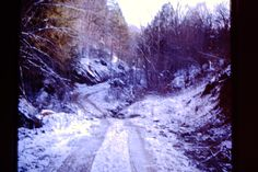 Leslie County, KY, roads in the winter. The main streets of Hyden, KY, were paved during my tenure there, FNS, 1974-75, photo by Sherrie Rice Smith