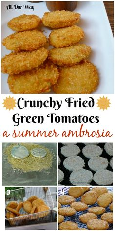 Fried Green Tomatoes Recipe- A Crunchy Summer Ambrosia Crunchy Fried Green Tomatoes is a real summer treat that is delicious as a side or an appetizer. So good you can't eat just one. Green Tomato Recipes, Veggie Recipes, Appetizer Recipes, Vegetarian Recipes, Cooking Recipes, Canned Vegetable Recipes, Spinach Recipes, Veggie Food, Cooking Tips