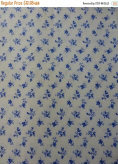 4th OF JULY SALE Porcelain Blue~Tiny Flowers on White~Cotton Fabric, Quilt, Home Decor~Northcott~20700-10~Fast Shipping F546