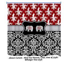 Fleur De Lis And Damask Shower Curtain   Elephant Shower Curtain, Roll Tide Shower  Curtain   University Of Alabama