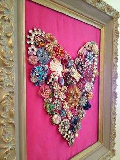 Jeweled Heart via Noelle O Designs. Made with old costume jewelry.