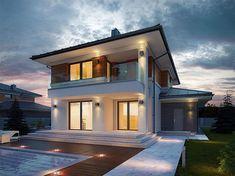 Zdjęcie projektu Kadyks BSE1142 Mediterranean Homes, Home Fashion, House Plans, Villa, New Homes, House Styles, Home Decor, Decorating, Modern House Facades