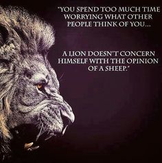 """""""You spend too much time worrying about what other people think of you. A lion does not concern himself with the opinion of a sheep."""""""