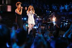Tessanne Chin and Celine Dion | #TheVoice  I LOVE Celine's dress...