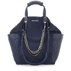 My new bag!! Navy Suede and Leather Tote Bag   Shoulder Bags   Blare   JIMMY CHOO Shoulder bags