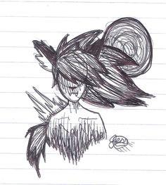 Notebook Doodles. Werewolf girl. pen + ink ~cherrydragon6