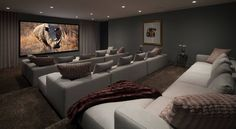 How to Choose the Perfect Home Movie Theater Ideas: Great Home Movie Theater Ideas With Brown Carpet And Gray Sofa Plus Decorative Pillows And Tiered Seating Also Gray Curtains Plus Gray Walls And Recessed Lighting ~ franklester.com Furniture Inspiration