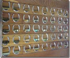 Horseshoe wall of fame. Great idea for the barn! Take a horseshoe from each horse you've owned and put them on the wall