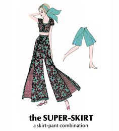 Items similar to PDF File of Out-of-Print 1972 Wrap Skirt-Pant Combo Instructions Leaflet, Columnist Eunice Farmer, Colorized Drawings, Yardage, Sizing on Etsy Wrap Pants, Skirt Pants, Ab Challenge, Cute Halloween, Pdf, Awesome, Skirts, Etsy, Skirt
