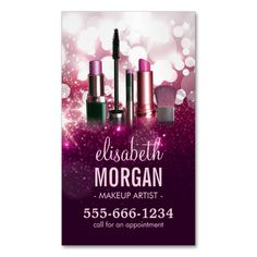 Makeup Artist Cosmetician - Pink Beauty Glitter Magnetic Business Cards (Pack Of 25). This is a fully customizable business card and available on several paper types for your needs. You can upload your own image or use the image as is. Just click this template to get started!