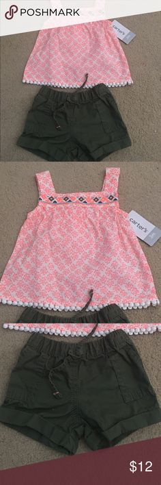 2pc Summer Carter's Outfit Very Cute Summer Outfit, Blouse was never worn, bottom was washed once, but never worn! Bundle and save! Carter's Matching Sets