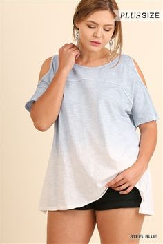 bd5ff64d05 UMGEE Plus Steel Blue Washed Ombre Open Shoulder Top. Steel blue ombre dyed  style tee with open shoulders