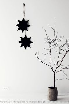 It's a black and white Xmas: stars Christmas Feeling, Black Christmas, Noel Christmas, Scandinavian Christmas, Christmas Fashion, Modern Christmas, Simple Christmas, Winter Christmas, Christmas Crafts