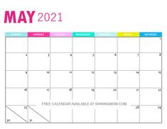 May 2021 calendar Mom Calendar, Print Calendar, 2021 Calendar, Mom Planner, Monthly Planner, Free Calendars To Print, Family Organizer, Getting Organized, Free Printables