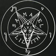 Sigil of Baphomet. Samael and Lilith. Sacred Geometry Meanings, Lilith Sigil, Black Lilith, Inverted Pentagram, Beautiful Dark Art, Traditional Witchcraft, Satanic Art, Evil Demons, Occult Symbols