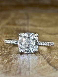 Engagement Ring. Perfect!  This is the cushion cut. i love this but maybe with a thicker band, you know how easily i break jewelery