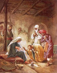 Three Kings Worship Christ Painting