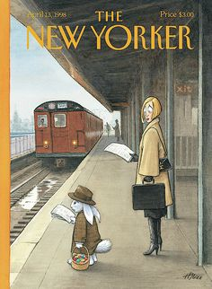 The New Yorker Cover, April Harry Bliss. Woman on train platform looking at Easter bunny who is reading a newspaper and waiting for a commuter train. The New Yorker, New Yorker Covers, Old Magazines, Vintage Magazines, Capas New Yorker, Editorial Illustration, Plakat Design, Rabbit Art, Bunny Art