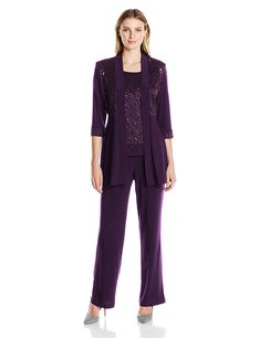 9021c613470 R M Richards Women s Lace Pant Set  Two piece open front jacket with three  quarter sleeves and attached shell pull up pant set with lace embroidery