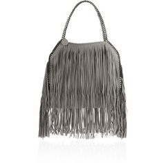 Stella McCartney The Falabella medium fringed faux brushed-leather shoulder bag