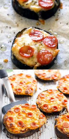 Easy Mini Eggplant Pizza Recipe - Low Carb - This easy low carb eggplant pizza recipe needs just 6 ingredients! See how to make eggplant pizza faster than other methods - only 30 minutes total. Eggplant Pizza Recipes, Eggplant Pizzas, Mini Eggplant Recipe, Stuffed Eggplant Recipes, Vegetarian Eggplant Recipes, Baked Eggplant Slices, Eggplant Appetizer, Flatbread Pizza Recipes, Aubergine Recipe
