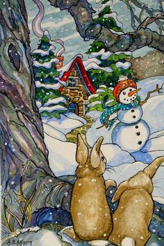 Alida Akers' Storybook Cottage Series - New Kid on the Block (two Bunnies & a Snowman) Christmas Note, Christmas Pictures, Winter Christmas, Winter Snow, Cute Cottage, Cottage Art, Illustrations, Illustration Art, Storybook Cottage