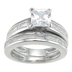 Plutus Rhodium Finish Sterling Silver Cubic Zirconia Princess Engagement Ring Set