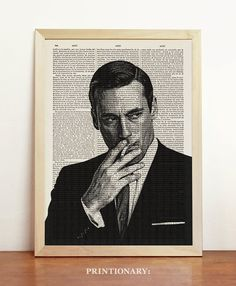 Don Draper Print Mad Men Poster Black White AMC TV by Printionary