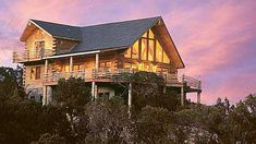 You're on top of the world if you're in the Mountain View log cabin by eLogHomes.Com: Gallery of Log Homes. Over 300 beautiful designs! Log Cabin Floor Plans, Log Cabin Kits, Log Cabin Homes, Cabin Plans, House Floor Plans, Log Cabins, Interior Balcony, Log Home Living, Log Home Designs