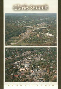 Aerial Views of Clarks Summit Pennsylvania, Turnpike, Downtown, PA Town Postcard