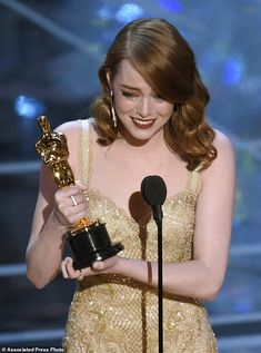 """Emma Stone accepts the award for best actress in a leading role for """"La La Land"""" at the Oscars on Sunday Feb. 26 2017 at the Dolby Theatre in Los Angeles. (Photo by Chris Pizzello/Invision/AP) Dream Career, Dream Job, Dream Life, Oscar Pictures, Les Oscars, My Future Job, Best Actress Oscar, Film Aesthetic, Amanda Seyfried"""