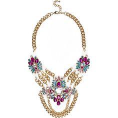 Gold tone encrusted perspex necklace #riverisland