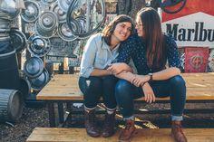 Ourdoor lesbian engagement | Texas Brunch-Inspired Lesbian Engagement | Equally Wed - LGBTQ Weddings