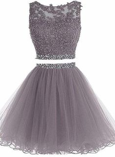 Charming 2 Pieces Short Tulle Homecoming Dresses ,Short Appliques Beading Mini Prom Dresses on Storenvy kleider Buy directly from the world's most awesome indie brands. Or open a free online store. Grad Dresses Short, Two Piece Homecoming Dress, Dama Dresses, Cute Homecoming Dresses, Prom Dresses Two Piece, Prom Dresses For Teens, Hoco Dresses, Tulle Prom Dress, Short Prom