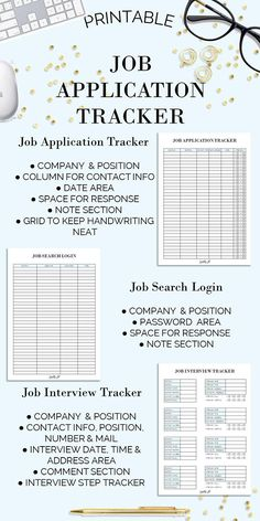 Job Application Tracker Printablejob Applicationjob  Sparkling