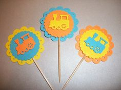 3D My little Trains Cupcake toppers / food picks / table decorations
