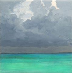 Caribbean Seascape no. 1 - original 6 x 6 oil painting - summer, beach, tropical, landscape, clouds