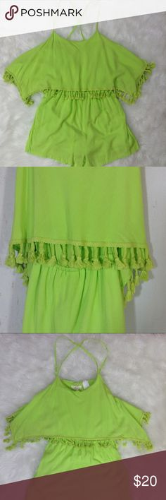 """NWT Lime Green Fringe Trim Shorts Romper Small NWT Size Small Lime Green Layered Fringe Trim Shorts Romper Adjustable straps Criss cross back Approximate flat measurements:  Chest: 14"""" Waist: 12"""" elastic Hips: 16"""" Rise: 11"""" Length: 3"""" Dani Collection Pants Jumpsuits & Rompers"""