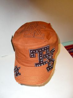 0036b213 New Texas TX State Rhinestone Bling Womens Cowgirl Cadet Castro Cap Hat  Orange   eBay Country