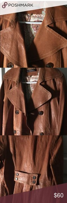 Andrew Marc leather trench Light caramel color trench.  Reposhing.  Size 8 Andrew Marc Jackets & Coats Trench Coats