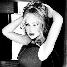 Jennifer Lawrence black and white closeup